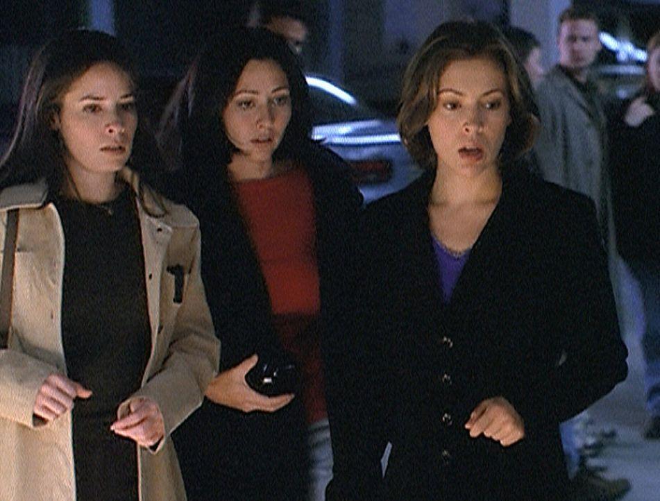 Piper (Holly Marie Combs, l.), Prue (Shannen Doherty, M.) und Phoebe (Alyssa Milano, r.) kommen zufällig am Tatort vorbei, wo ein Mann auf grausame... - Bildquelle: Paramount Pictures