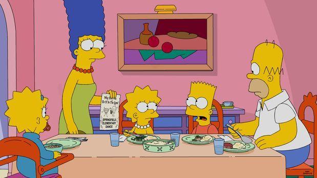 Die Simpsons - Während Homer (r.) und Marge (2.v.l.) sich darüber freuen, das...