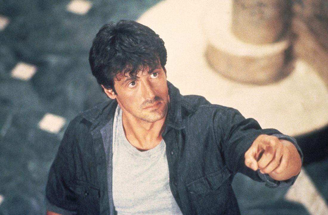 Der LKW-Fahrer Lincoln Hawk (Sylvester Stallone) hat mit seinem Truck das Tor der Prachtvilla seines Schwiegervaters durchbrochen und fordert ihn zu... - Bildquelle: Warner Bros.