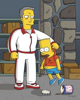 Die Simpsons - Da Bart (r.) zu viel Mistkram isst, wird er von seinen Eltern...