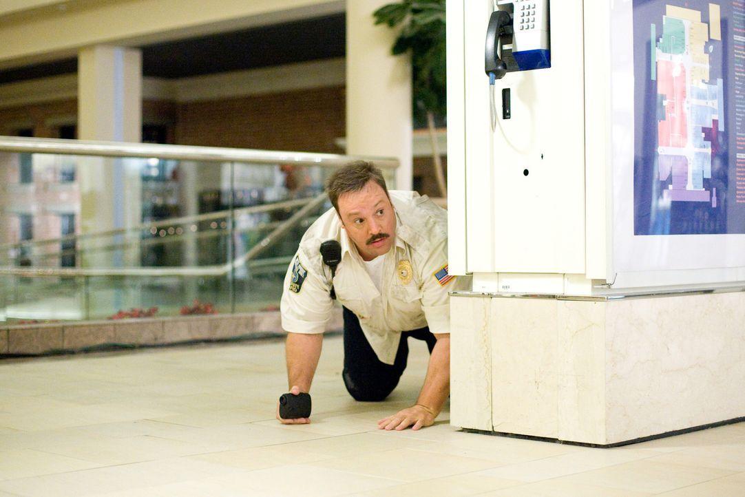 Übereifrig nimmt Paul (Kevin James) in einem Kaufhaus seinen Dienst auf - bis sein großer Tag kommt: Gangster überfallen das Kaufhaus und nehmen... - Bildquelle: 2009 Columbia Pictures Industries, Inc. and Beverly Blvd LLC. All Rights Reserved.