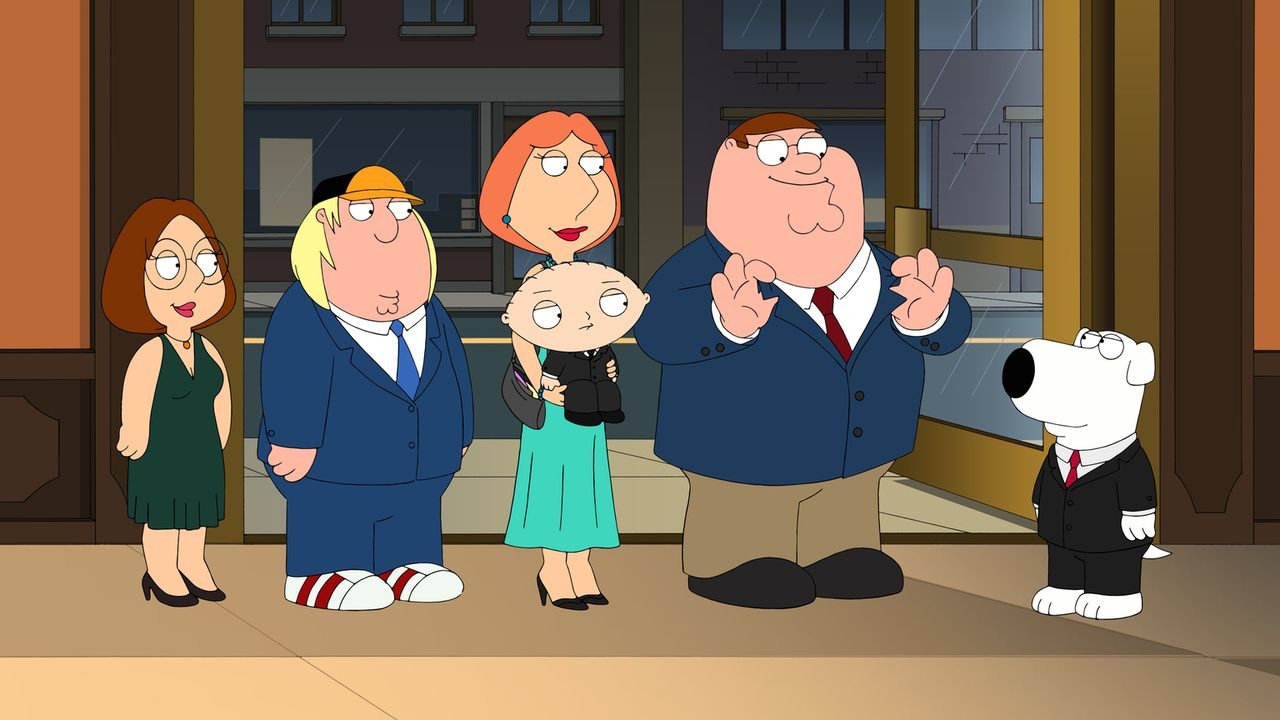 Sind stolz auf Brian (r.), der zum gefeierten Star in seinem Heimatstädtchen wird: Megan (l.), Chris (2.v.l.), Lois (M. oben), Stewie (M. unten) und... - Bildquelle: 2013 Twentieth Century Fox Film Corporation. All rights reserved.