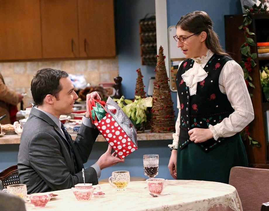 Amy (Mayim Bialik, r.) bietet an, das diesjährige Weihnachtsessen auszurichten, da sich Raj um seinen Vater kümmern muss. Sheldon (Jim Parsons, l.),... - Bildquelle: Warner Bros. Television
