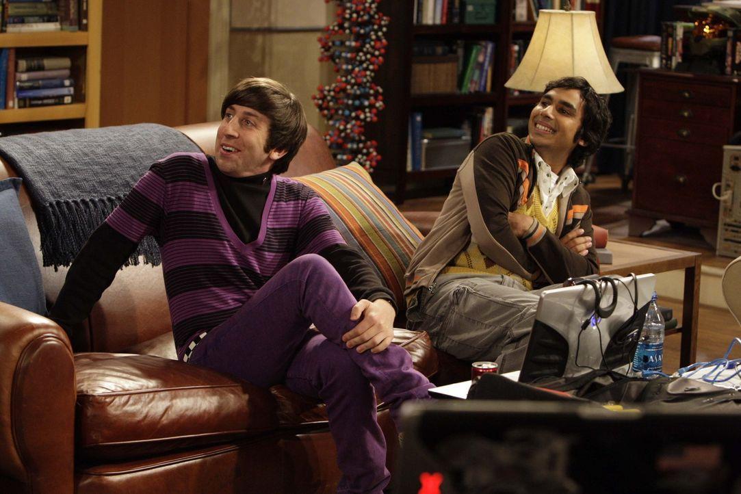 Sheldon macht seine Freunde, mit seinen nervösen Ticks wahnsinnig. Rajesh (Kunal Nayyar, r.) und Howard (Simon Helberg, l.) überlegen deshalb, was... - Bildquelle: Warner Bros. Television