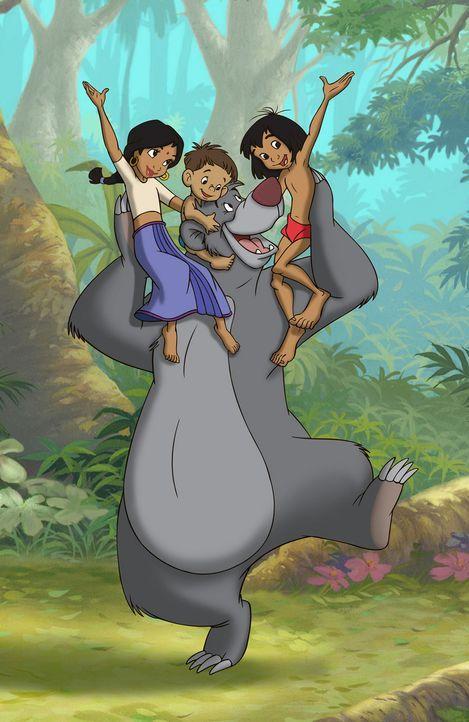 Mogli (r.) hat in der Menschensiedlung nicht nur eine neue Familie, sondern in der bezaubernden Shanti (l.) und ihrem kleinen neugierigen Bruder Ran... - Bildquelle: Disney Enterprises, Inc. All rights reserved.