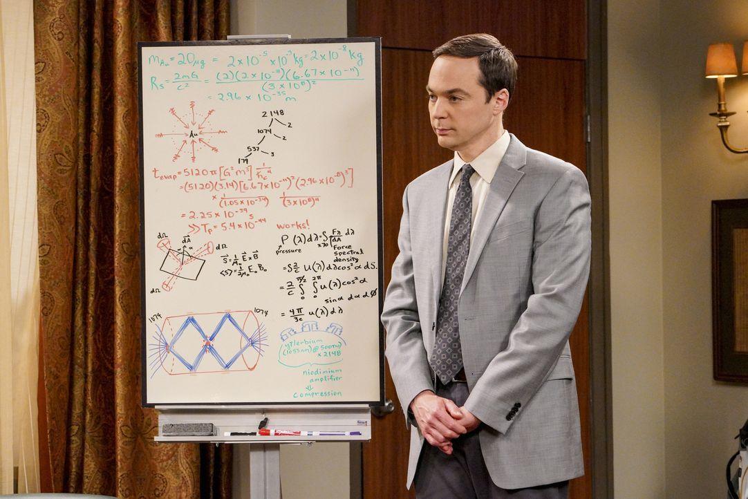 Für sein neues Projekt benötigt Sheldon (Jim Parsons) eine ganze Menge Geld, doch als die Universität ihm dieses nicht geben will, sucht er nach and... - Bildquelle: Warner Bros. Television