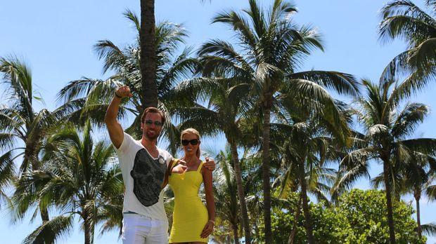 Auf einem Roadtrip durch die USA: Unternehmer Bastian Yotta (l.) und Freundin...
