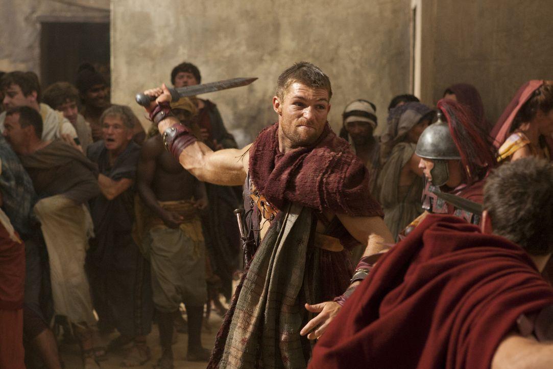 Als Spartacus (Liam McIntyre) klar wird, was Glaber Aurelia, der Frau des getöteten Varro, angetan hat, wirft er alle Vorsicht über Bord und nimmt... - Bildquelle: 2011 Starz Entertainment, LLC. All rights reserved.