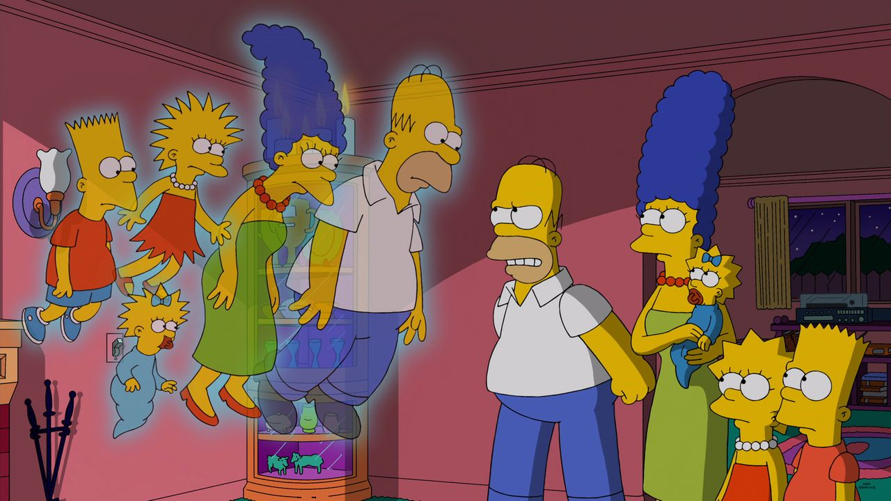 Wer ist hier die Geisterfamilie? Homer (M.), Marge (4.v.r.), Maggie (3.v.r.), Lisa (2.v.r.) und Bart (r.) streiten mit verschiedenen Versionen von s... - Bildquelle: 2014 Twentieth Century Fox Film Corporation. All rights reserved.