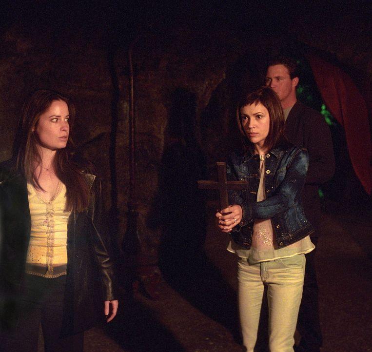 Wieder zu Hause verwandelt sich Paige nach und nach in einen Vampir. Phoebe (Alyssa Milano, M.), Cole (Julian McMahon, r.) und Piper (Holly Marie Co... - Bildquelle: Paramount Pictures