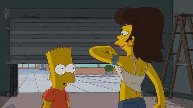 Die Simpsons - Jimbo braucht jemanden, der auf seine Freundin Shauna (r.) auf...