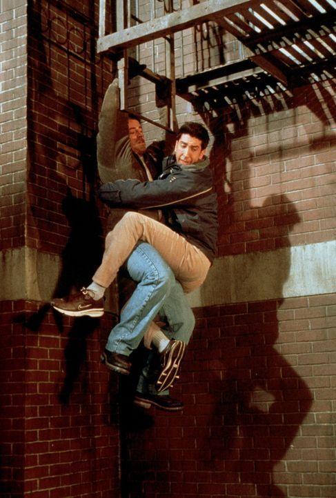 Joey (Matt LeBlanc, r.) und Ross (David Schwimmer, l.) müssen sich mit einer waghalsigen Kletteraktion vom Dach retten. - Bildquelle: TM+  2000 WARNER BROS.