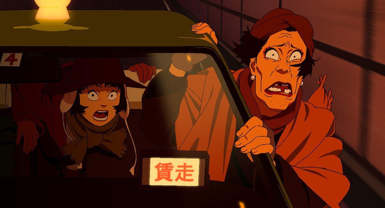 Ausreißerin Miyuki (l.) und Drag Queen Hana (r.) begeben sich auf die Suche nach den Eltern des gefundenen Babys. Fotos und eine Telefonkarte sind i... - Bildquelle: 2003 Satoshi Kon, Mad House and Tokyo Godfathers Committee. All Rights Reserved.