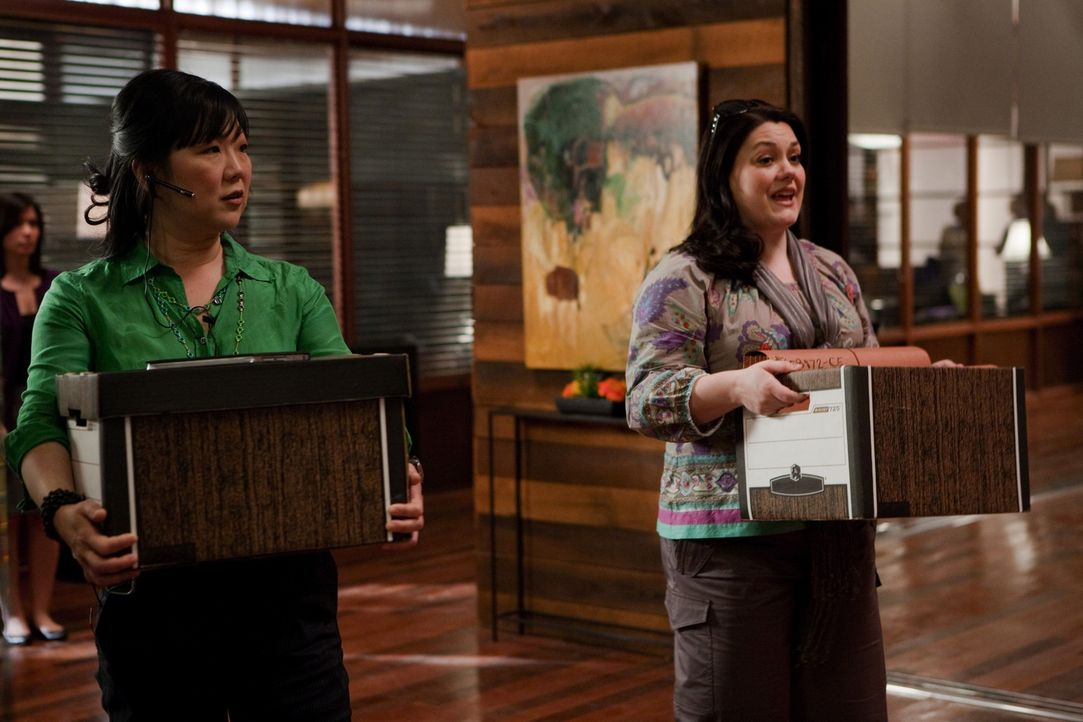 Während Jane (Brooke Elliott, r.) gemeinsam mit ihrer Assistentin Teri (Margaret Cho, l.) an einem neuen Fall arbeiten, verliebt sich Fred in Stacy... - Bildquelle: 2009 Sony Pictures Television Inc. All Rights Reserved.