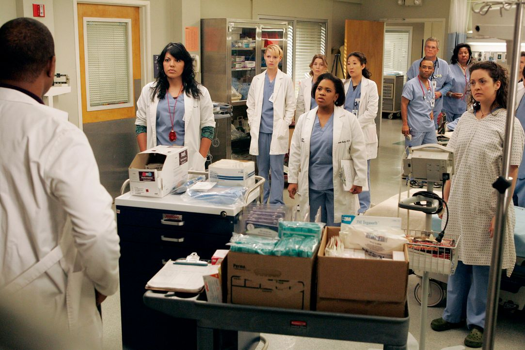 Bailey (Chandra Wilson, 5.v.l.), Izzie (Katherine Heigl, 3.v.l.), Meredith (Ellen Pompeo, 4.v.l.), Callie (Sara Ramirez, 2.v.l.), Cristina (Sandra O... - Bildquelle: Touchstone Television
