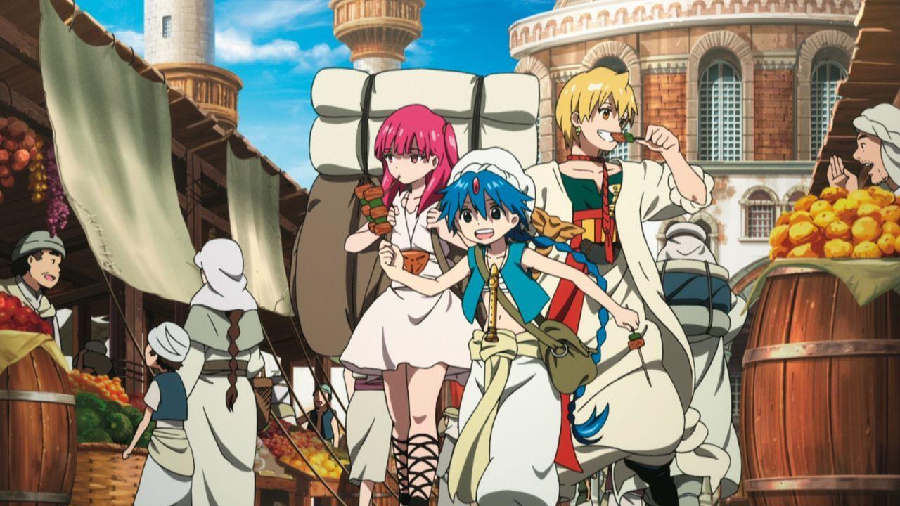 Gemeinsam mit Aladdin (2.v.r.) und dem Sklavenmädchen Morgiana (4.v.r.) macht sich der junge Zauberer Aladdin (M.) auf die Suche nach einem Schatz u... - Bildquelle: Shinobu Ohtaka / SHOGAKUKAN, Magi Committee, MBS