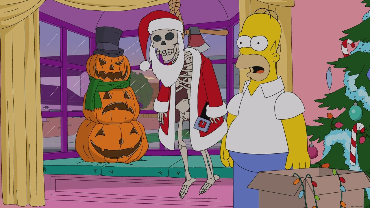 Irgendwas stimmt hier nicht: Was machen die Halloween-Monster zu Weihnachten in Homer Simpsons (r.) Haus? - Bildquelle: 2013 Twentieth Century Fox Film Corporation. All rights reserved.