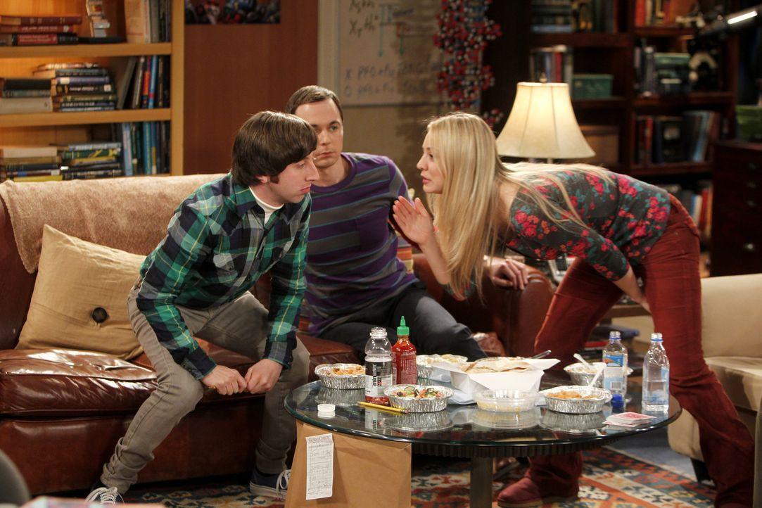 Während Priya möchte, dass Penny (Kaley Cuoco, r.) nicht mehr so oft bei Leonard in der Wohnung ist, treibt, Howard (Simon Helberg, l.) Sheldon (Jim... - Bildquelle: Warner Bros. Television