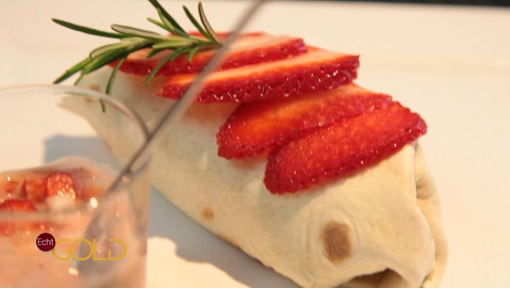 Erdbeer-Wrap mit Erdbeer-Bärlauch-Pesto