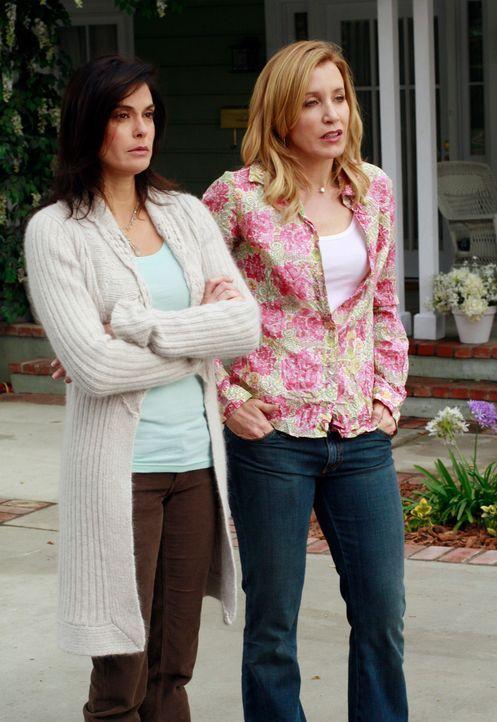 Gabrielle verlangt von Susan (Teri Hatcher, l.) und Lynette (Felicity Huffman, r.) Edie zu meiden, da sie nun mit Carlos zusammen ist ... - Bildquelle: 2005 Touchstone Television  All Rights Reserved