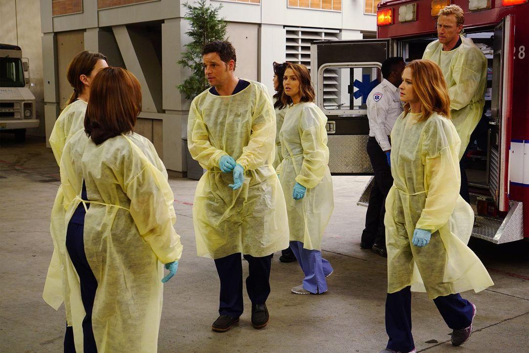 Als in der Stadt ein Tunnel einstürzt und mehrere Fahrzeuge begräbt, müssen Owen (Kevin McKidd, r.), Alex (Justin Chambers, 3.v.l.), Jo (Camilla Lud... - Bildquelle: ABC Studios