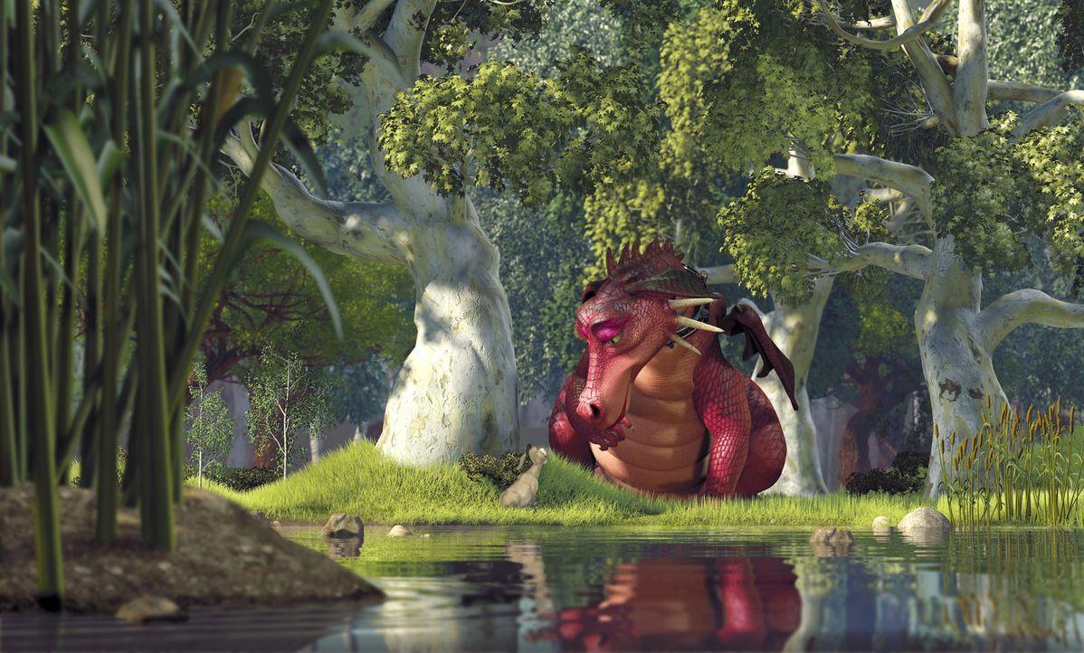 Shrek ist in großer Gefahr! Verzweifelt bittet der sprechende Esel (l.) die Drachendame (r.) um Hilfe ... - Bildquelle: TM &   2001 DreamWorks L.L.C.