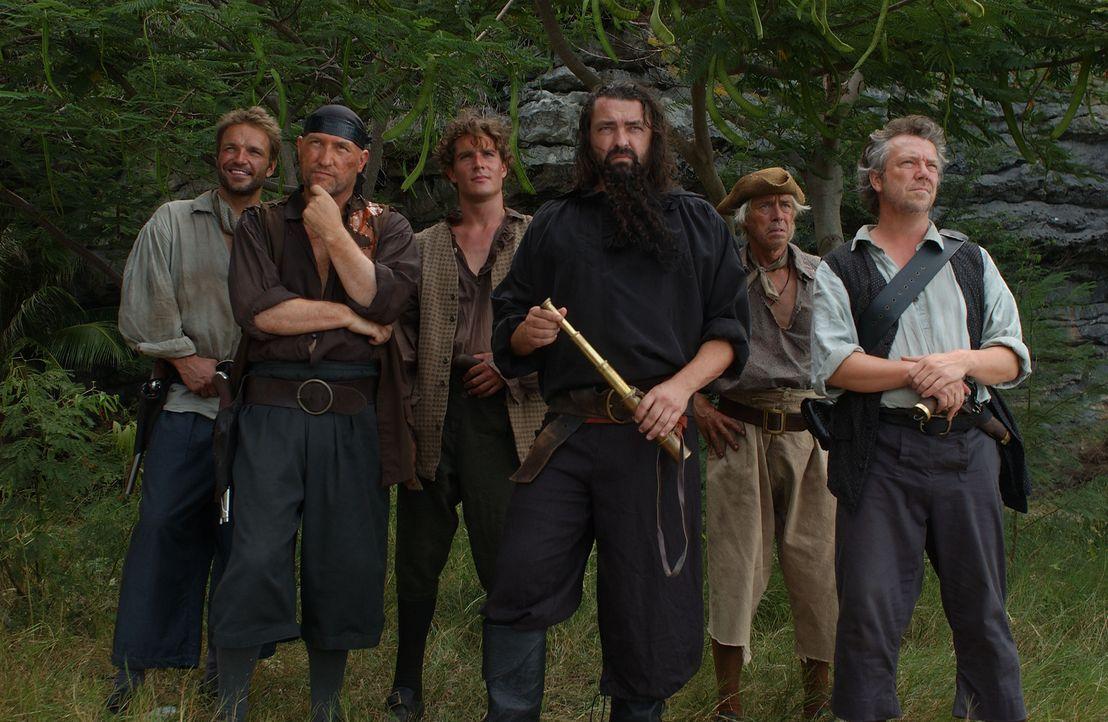 Als Maynard (Mark Umbers, 3.v.l.) als Lieutenant der Royal Navy entlarvt wird, setzen ihn Blackbeard (Angus MacFadyen, 3.v.r.) und seine Mannen (v.l... - Bildquelle: Hallmark Entertainment