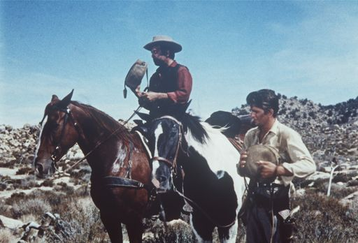 Bonanza - Little Joe (Michael Landon, r.) und Adam Cartwright (Pernell Robert...