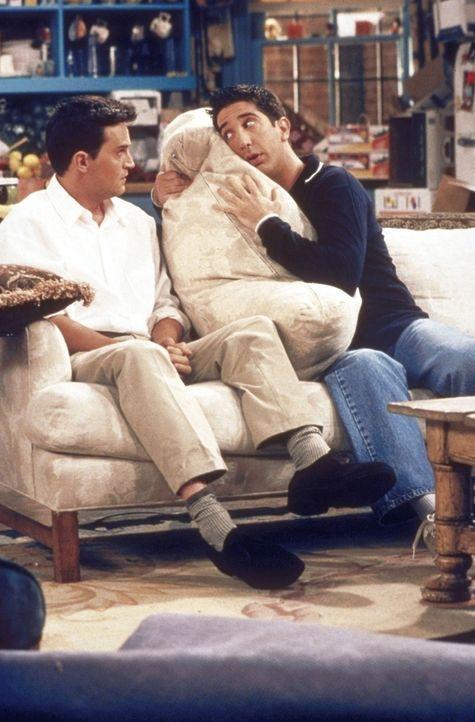 """Chandler (Matthew Perry, l.) lässt sich in Sachen """"Beziehung"""" von Ross (David Schwimmer, r.) Nachhilfe geben. - Bildquelle: TM+  2000 WARNER BROS."""