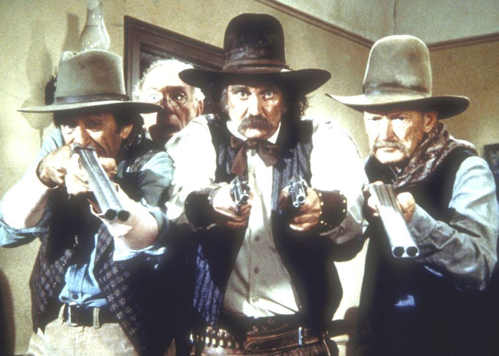 Der Sheriff von Barton (Sunshine Parker, M.) will Isaiah Edwards verhaften, weil er im Verdacht steht, zusammen mit den Younger Brüdern die Postkuts... - Bildquelle: Worldvision