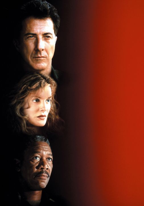 Outbreak - Lautlose Killer: Sam Daniels (Dustin Hoffman, oben), Billy Ford (Morgan Freeman, unten) und Robby Keough (Rene Russo, M.) ... - Bildquelle: Warner Brothers International Television Distribution Inc.