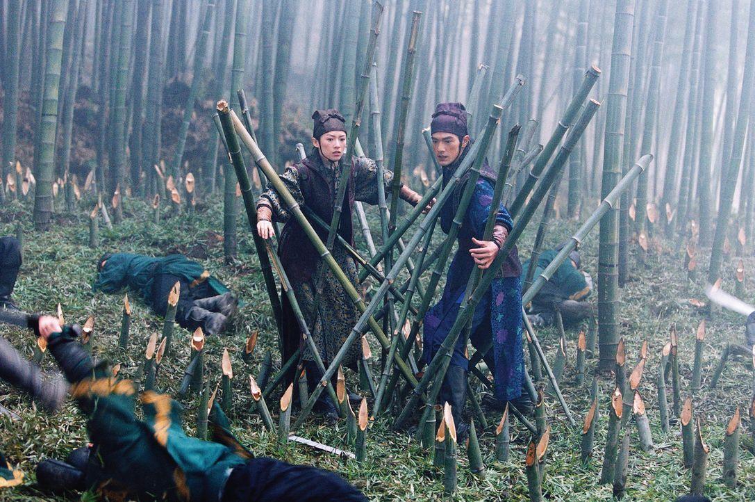 Bewegungsunfähig erwarten Mei (Zhang Ziyi, l.) und Jin (Takeshi Kaneshiro, r.) den sicheren Tod, als plötzlich Hunderte von Dolchen durch die Luft... - Bildquelle: Constantin Film