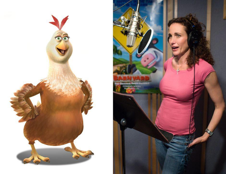 """Andie MacDowell (r.) im Tonstudio bei den Sprachaufnahmen für ihre Rolle als """"Etta die Henne"""". - Bildquelle: Paramount Pictures"""