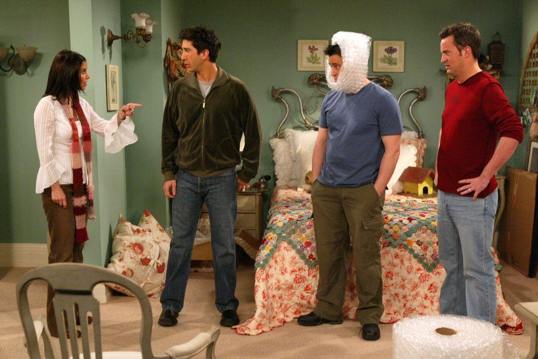 Joey (Matt LeBlanc, 2.v.r.), Ross (David Schwimmer, 2.v.l.), Monica (Courteney Cox, l.), Pheobe und Chandler (Matthew Perry, r.) planen für Rachel e... - Bildquelle: Warner Bros. Television