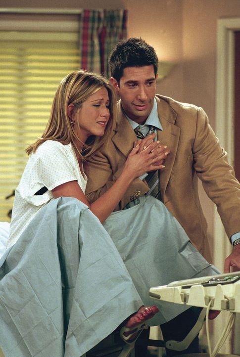Rachel (Jennifer Aniston, l.) und Ross (David Schwimmer, r.) sind bei der ersten Ultraschalluntersuchung. Im Gegensatz zu Ross kann Rachel das Kind... - Bildquelle: TM+  WARNER BROS.