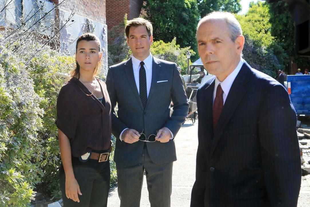 Versuchen, Harper Dearings zu stellen: Ziva (Cote de Pablo, l.), Tony (Michael Weatherly, M.) und Senior F.B.I. Agent T.C. Fornell (Joe Spano, r.) ... - Bildquelle: CBS Television
