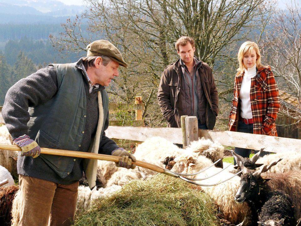 Mark (Siegfried Terpoorten, M.) und Rebecca (Lilian Klebow, r.) erfahren vom Landwirt Willi Hinterseer (Hans Maria Darnov, l.), dass dieser zwar die... - Bildquelle: Hans Seidenabel Sat.1