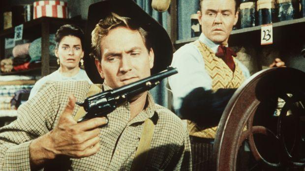 Der Gangster Perkins (Gregory Walcott, M.) versucht von dem Kaufmann Cameron...