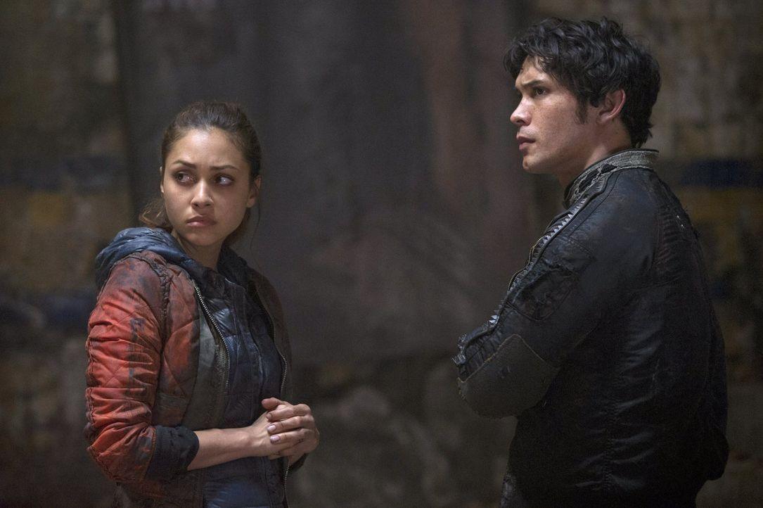 Bellamy (Bob Morley, r.) kann Raven (Lindsey Morgan, l.) nicht helfen, aber wird Clarke sie vor dem Ritualtod der Grounder retten können? - Bildquelle: 2014 Warner Brothers