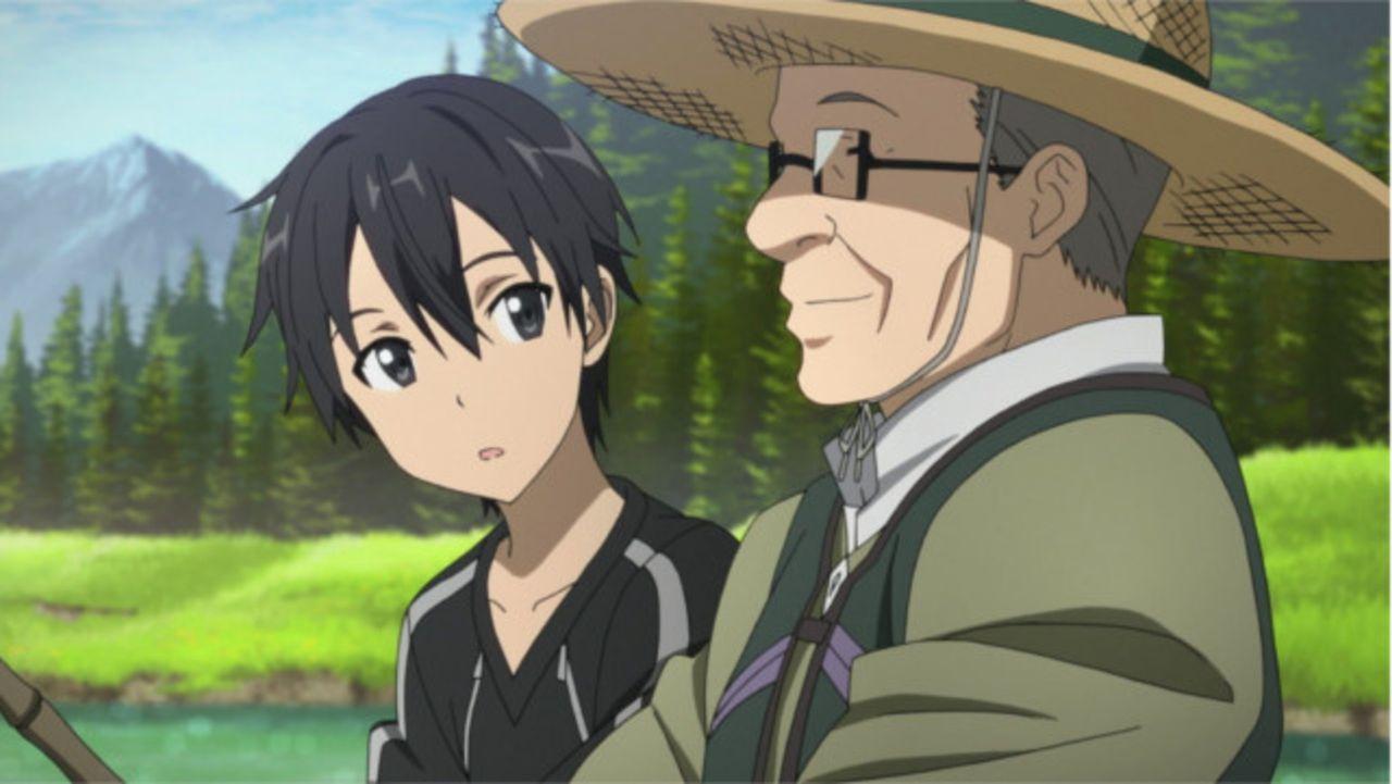 Während sich Kirito (l.) dem Fischen widmet, trifft er auf den Fischer Nishida (r.). Doch dann werden Kirito und Asuna von den Knights of Blood plöt... - Bildquelle: REKI KAWAHARA/ASCII MEDIA WORKS/SAO Project
