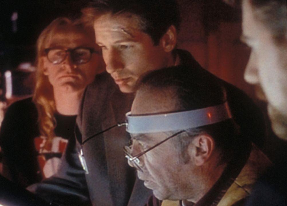 Mit der Hilfe seiner Freunde vom einsamen Schützen, Langley (Dean Haglund, l.), Frohike (Tom Braidwood, 2.v.r.) und Byers (Bruce Harwood, r.) kommt... - Bildquelle: TM +   2000 Twentieth Century Fox Film Corporation. All Rights Reserved.