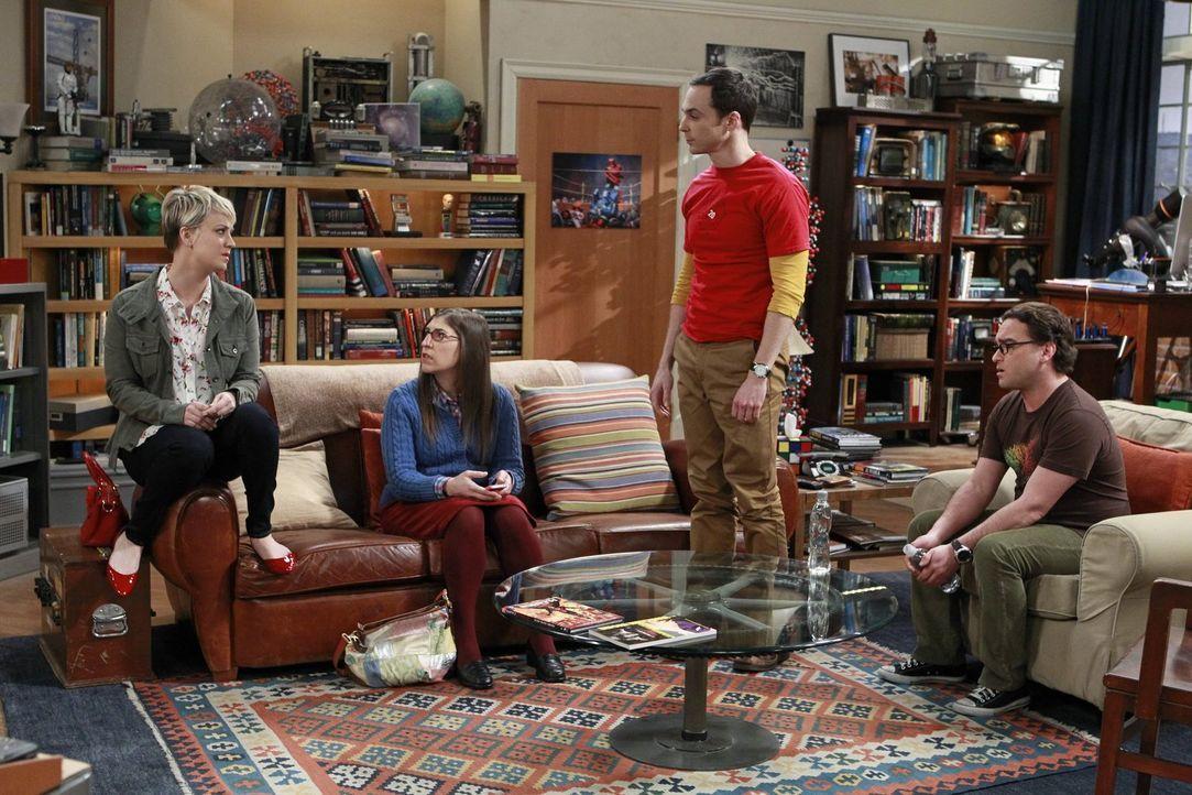 Leonard (Johnny Galecki, r.) und Sheldon (Jim Parsons, 2.v.r.), willigen derweil ein, mal etwas zu machen, was Penny (Kaley Cuoco, l.) und Amy (Mayi... - Bildquelle: Warner Bros. Television