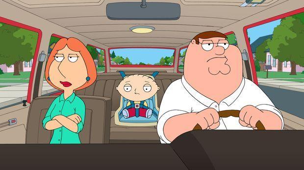 Bei Einkaufen geraten Lois (l.), Peter (r.) und Stewie (M.) in ein Casting fü...