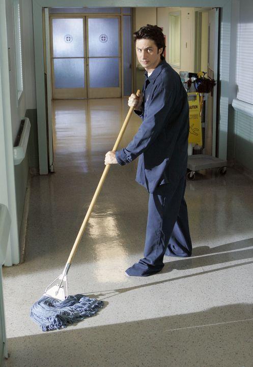 Wenn J.D. (Zach Braff) die Wette verliert, muss er sich einen Tag lang als Hausmeister versuchen ... - Bildquelle: Touchstone Television