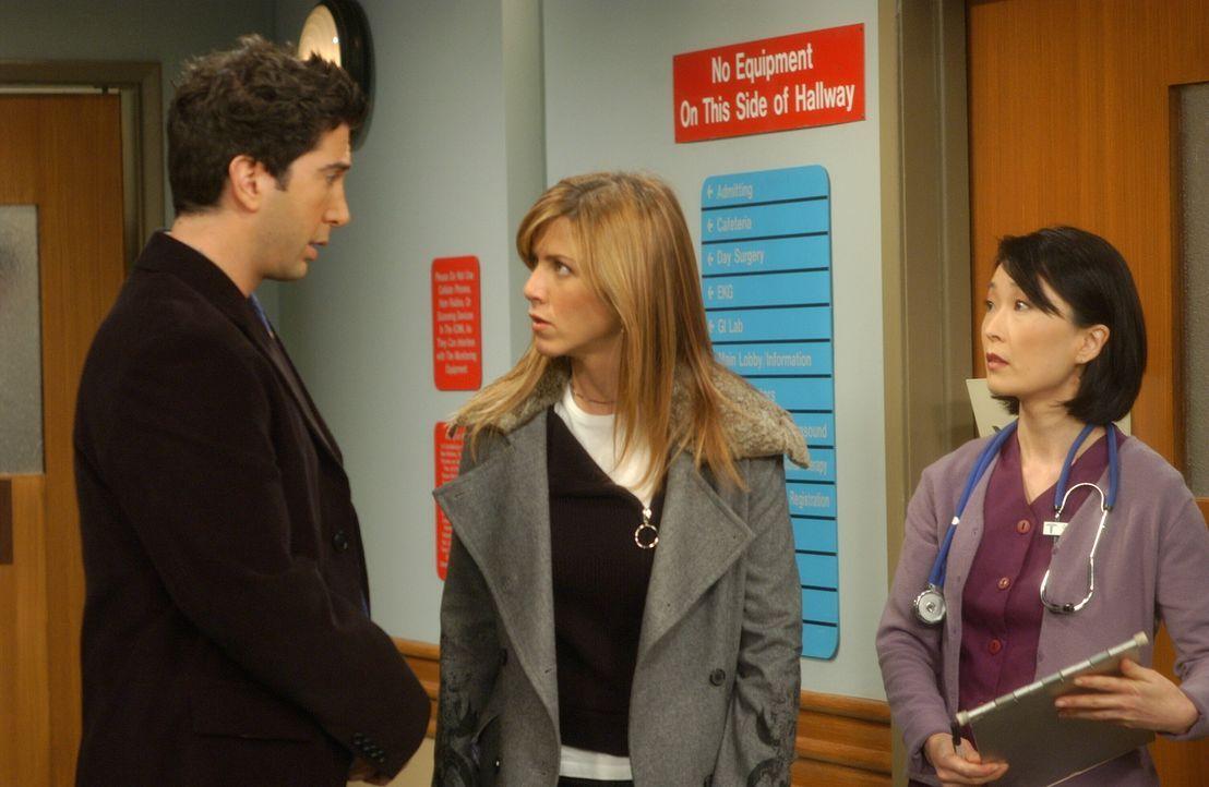 Während eines Gesprächs mit der Krankenschwester (Hira Ambrosino, r.) geraten Rachel (Jennifer Aniston, M.) und Ross (David Schwimmer, l.) aneinande... - Bildquelle: 2003 Warner Brothers International Television
