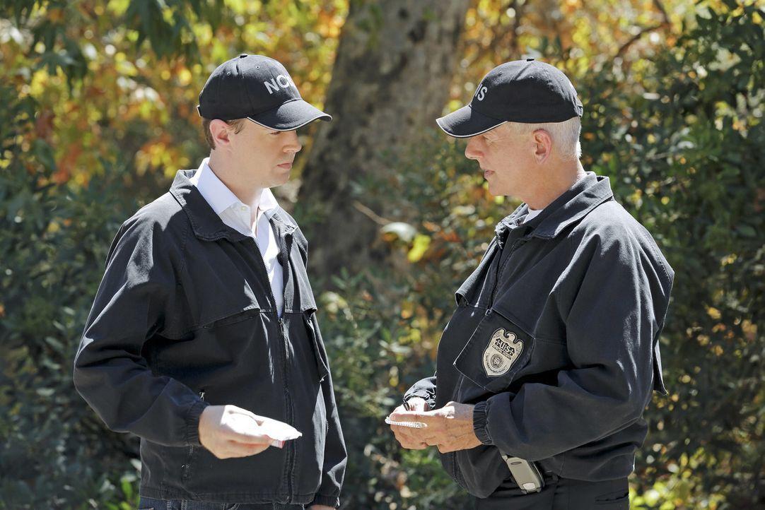 Als ein Kryptologe der Navy ermordet auf einer Straße im Wald gefunden wird, beginnen Gibbs (Mark Harmon, r.) und McGee (Sean Murray, l.) sofort mit... - Bildquelle: CBS Television