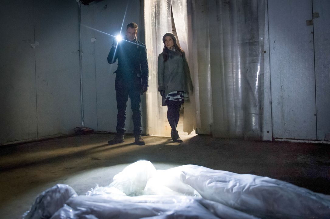 Holmes (Jonny Lee Miller, l.) und Watson (Lucy Liu, r.) werden zu einem Mordfall gerufen, in dem das Opfer schockgefrostet wurde ... - Bildquelle: CBS Television
