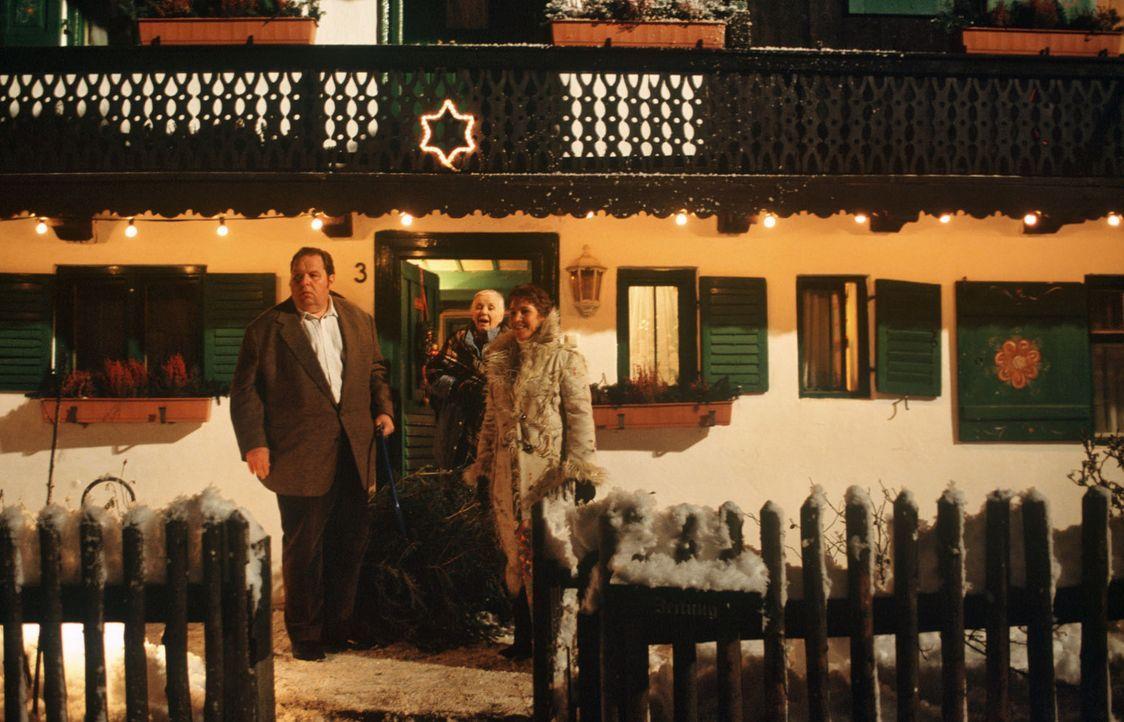 Benno (Ottfried Fischer, l.) kauft Förster Meixner den von Resi (Ruth Drexel, M.) gestohlenen Weihnachtsbaum ab und bringt ihn nach Hause. Sabrina (... - Bildquelle: Magdalena Mate Sat.1