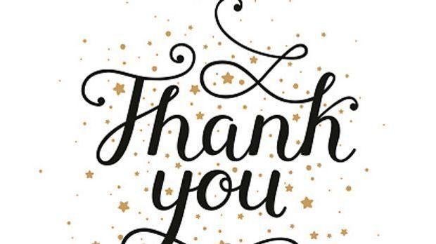 """Schriftzug """"thank you"""" in verschnörkelter Schreibschrift"""