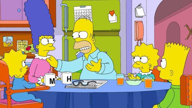 Diskutieren die jüngsten Ereignisse in Springfield am Frühstückstisch: Marge...